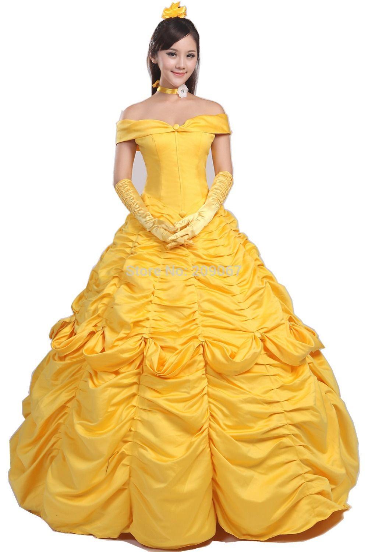 La bella y la bestia Belle princesa Cosplay vestido amarillo por ...