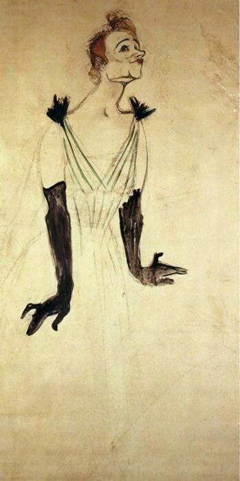 Yvette Guilbert Taking a Curtain CallbyHenri de Toulouse-Lautrec   Size: 48x25 cm Medium: oil