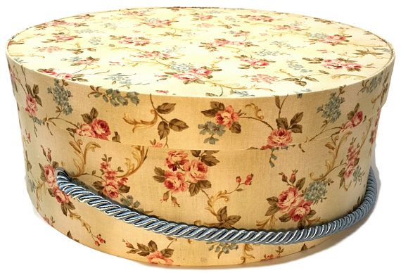 Decorative Round Boxes Hat Box In Yellow Floral Ready To Ship Round Box French Cottage
