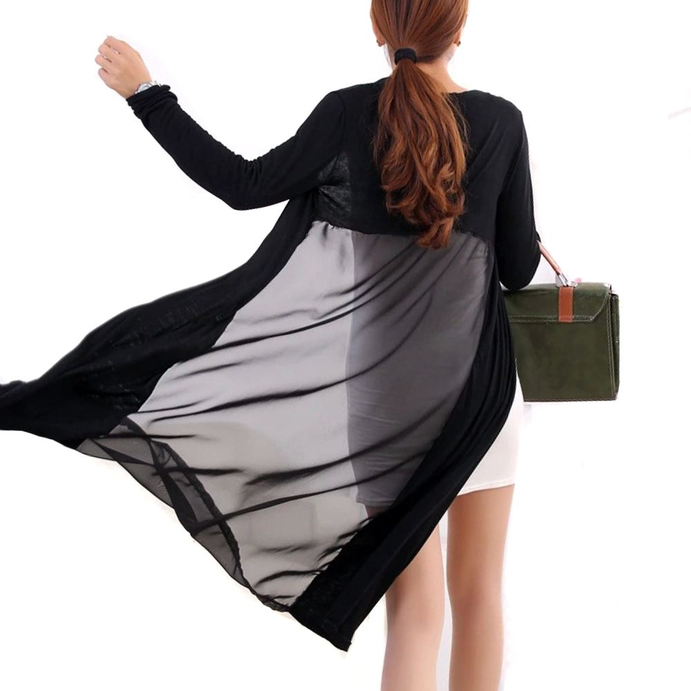 Women Sheer See Through Long Sleeve Cardigan Cape Black ...