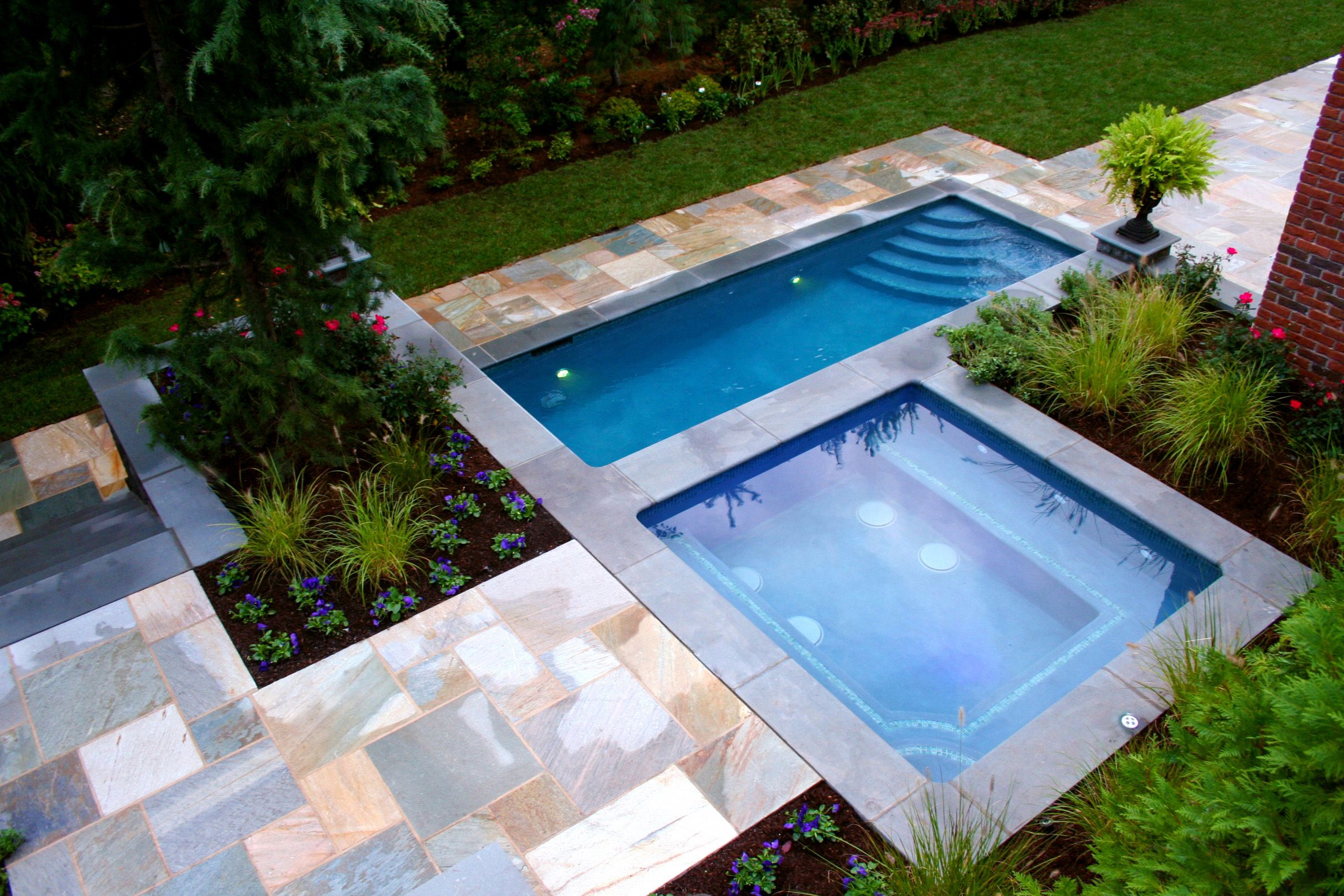 Classy Double Square Small Inground Pools With Green Field