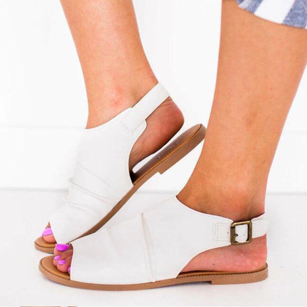 2329fdfe2115 US 25.95-Solid Color Peep Toe Sandals
