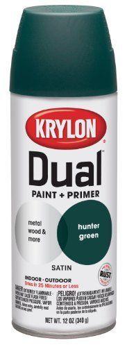 Krylon 8827 Dual Satin Hunter Green Paint and Primer  12 oz Aerosol Color Satin Hunter Green Size 12 Ounce Aerosol Model 8827 >>> Click on the gardening image for additional details.