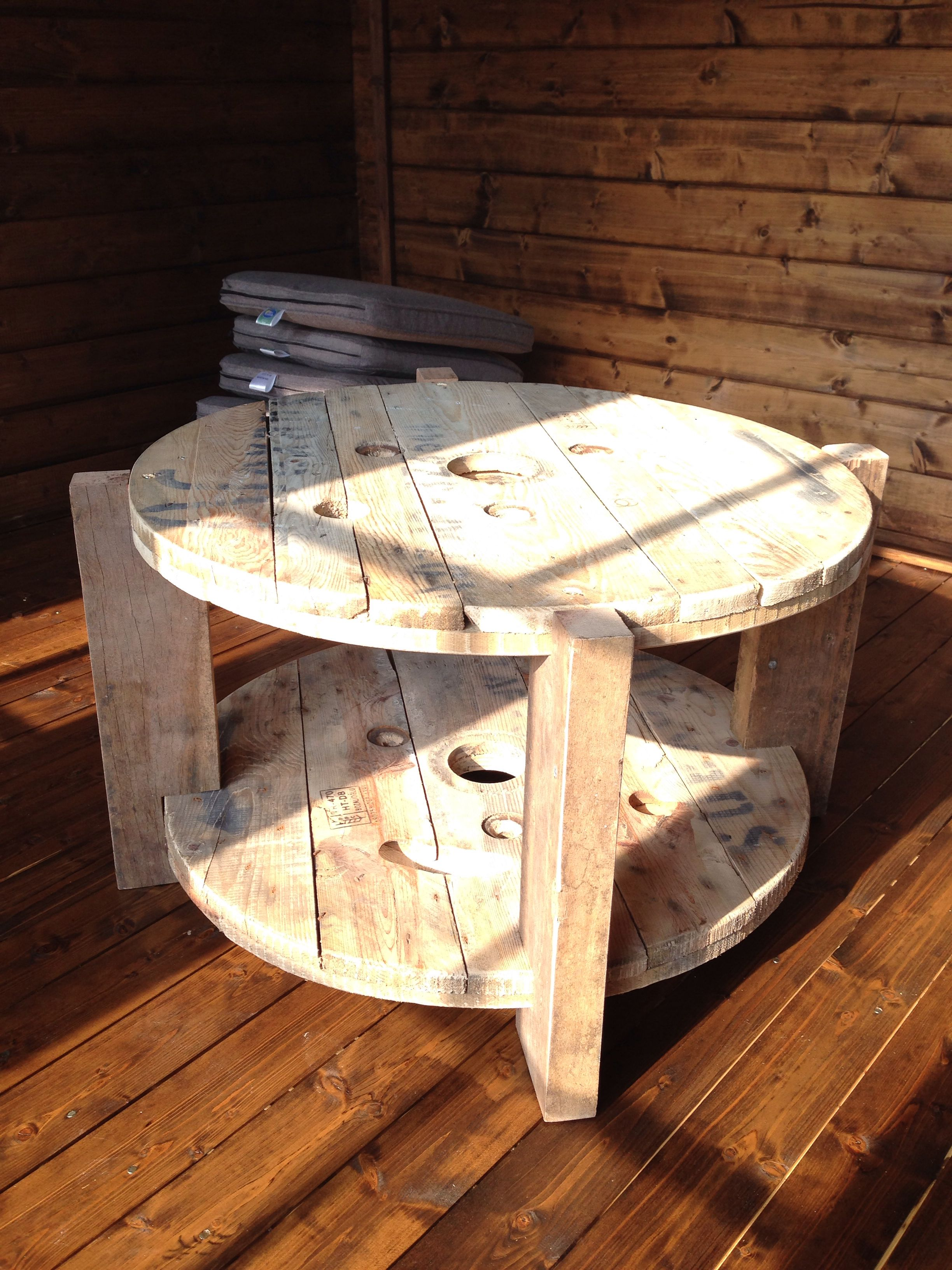 Table made from a recycled cable drum and decking from ...