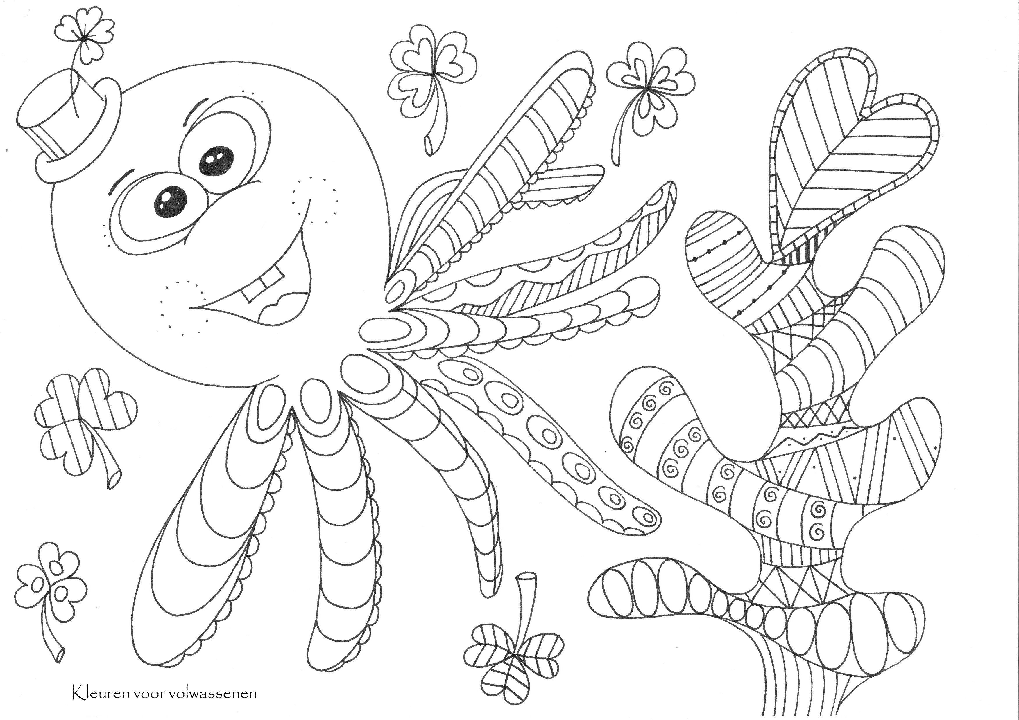 Inktvis Doodle Kleurplaten