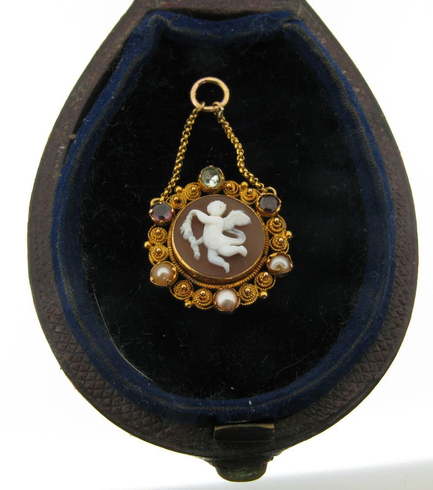 Boxed Antique 1870 Cannetille Gold Shell Cameo Cherub Genius of Light Pendant