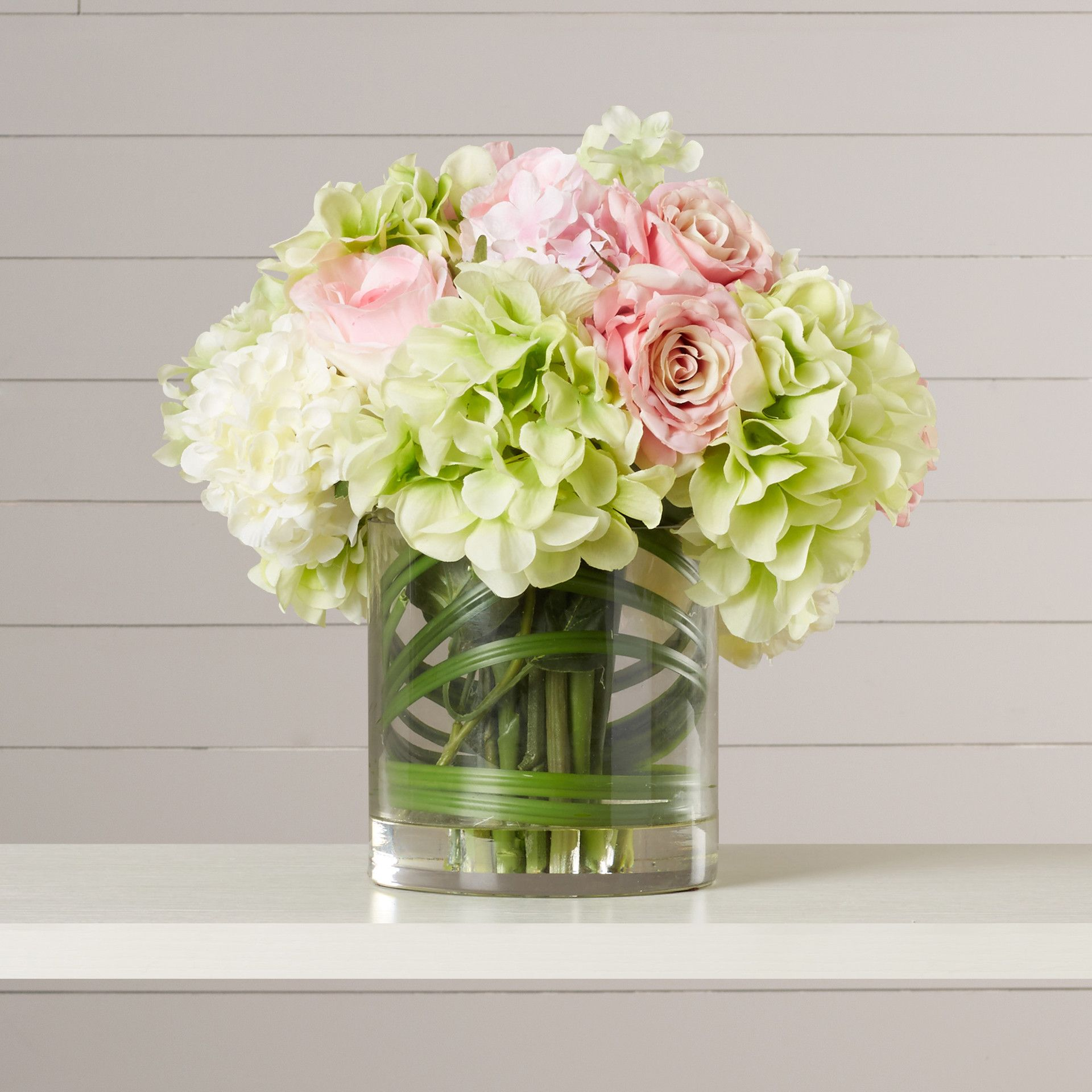 August Grove Spring Hydrangeas And Roses In Vase Reviews Wayfair Faux Flowers Faux Hydrangea Hydrangea Arrangements