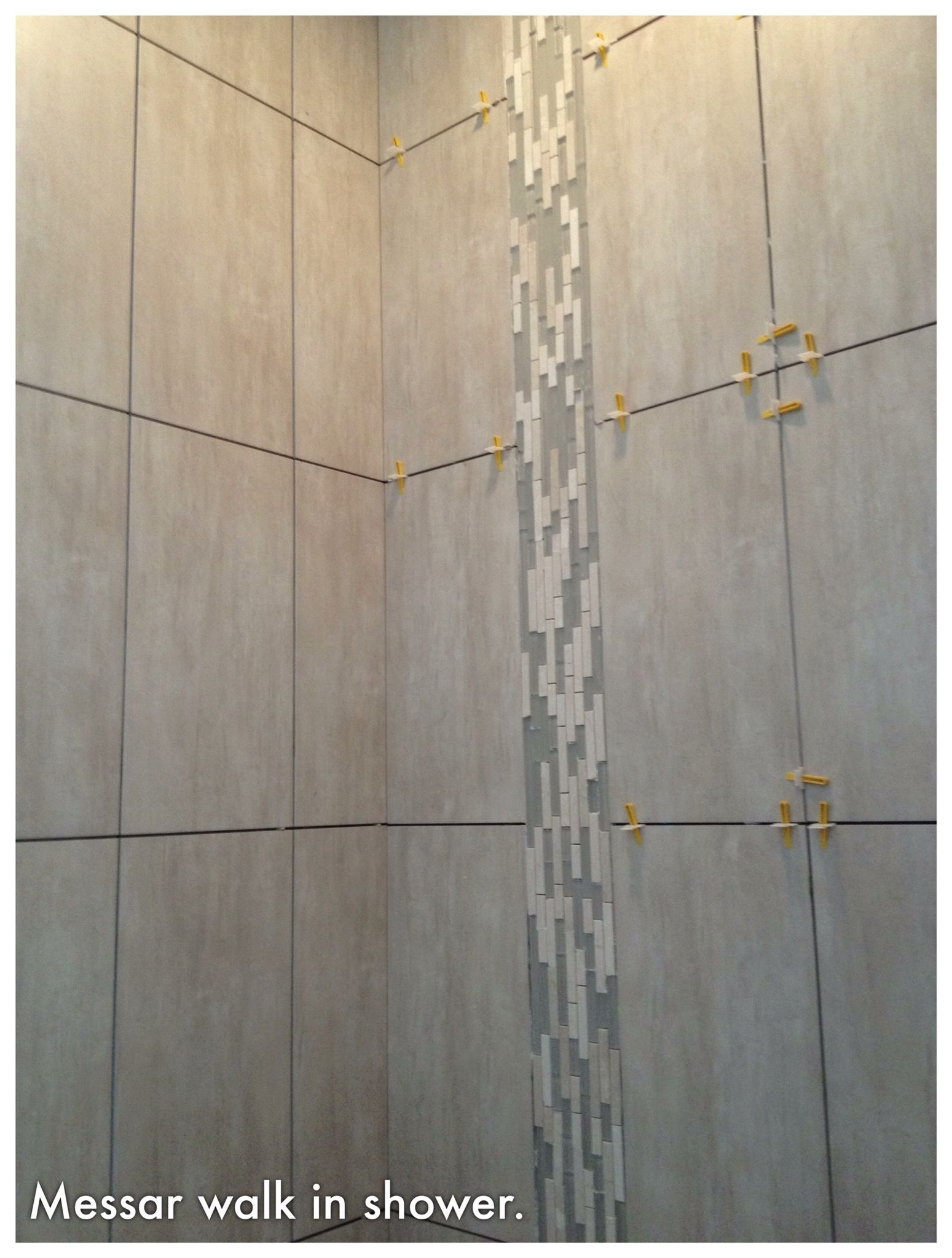 Walk in shower 12 x 24 tiles vertical waterfall glass for 12 x 24 glass tile