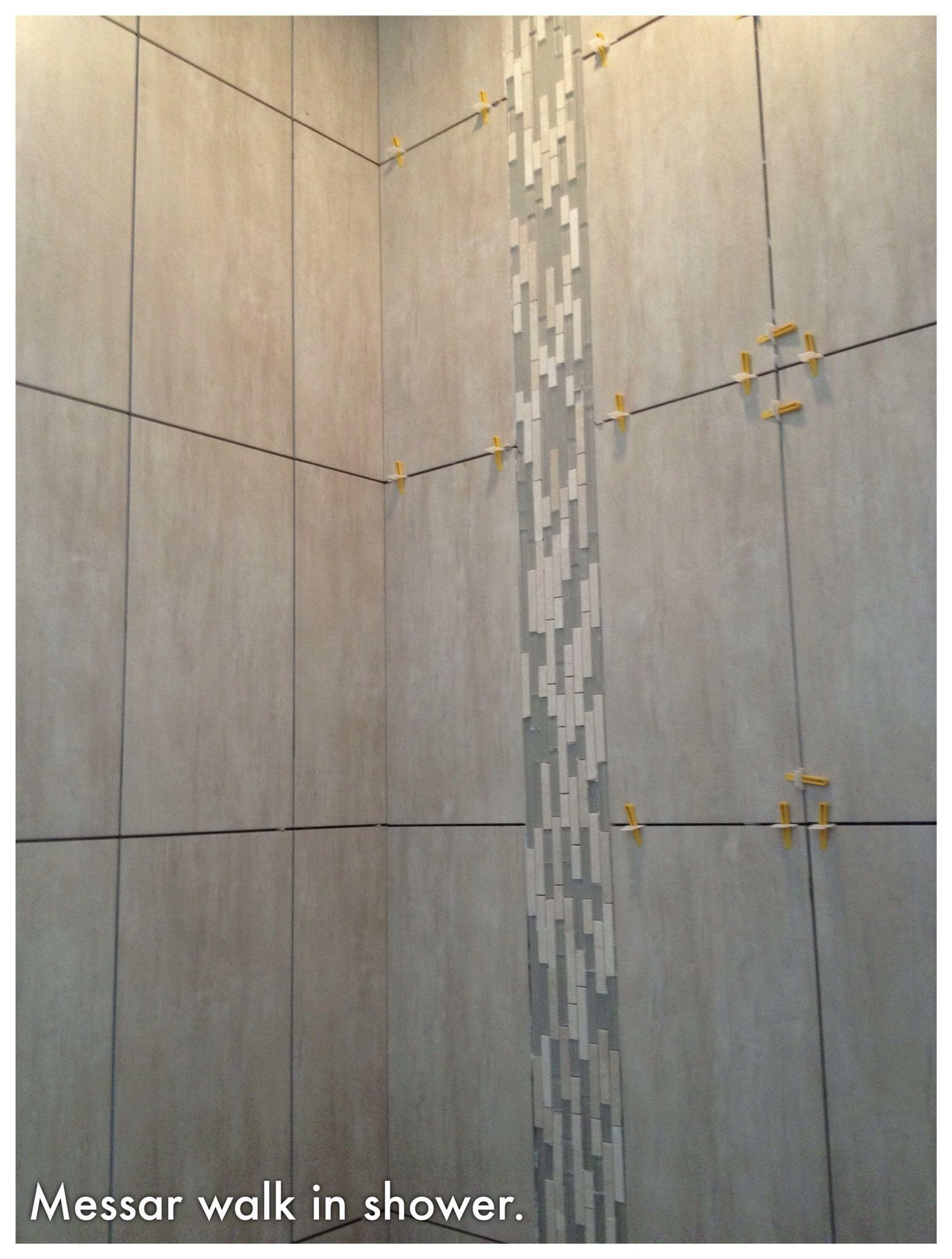 Walk In Shower X Tiles Vertical Waterfall Glass Stone