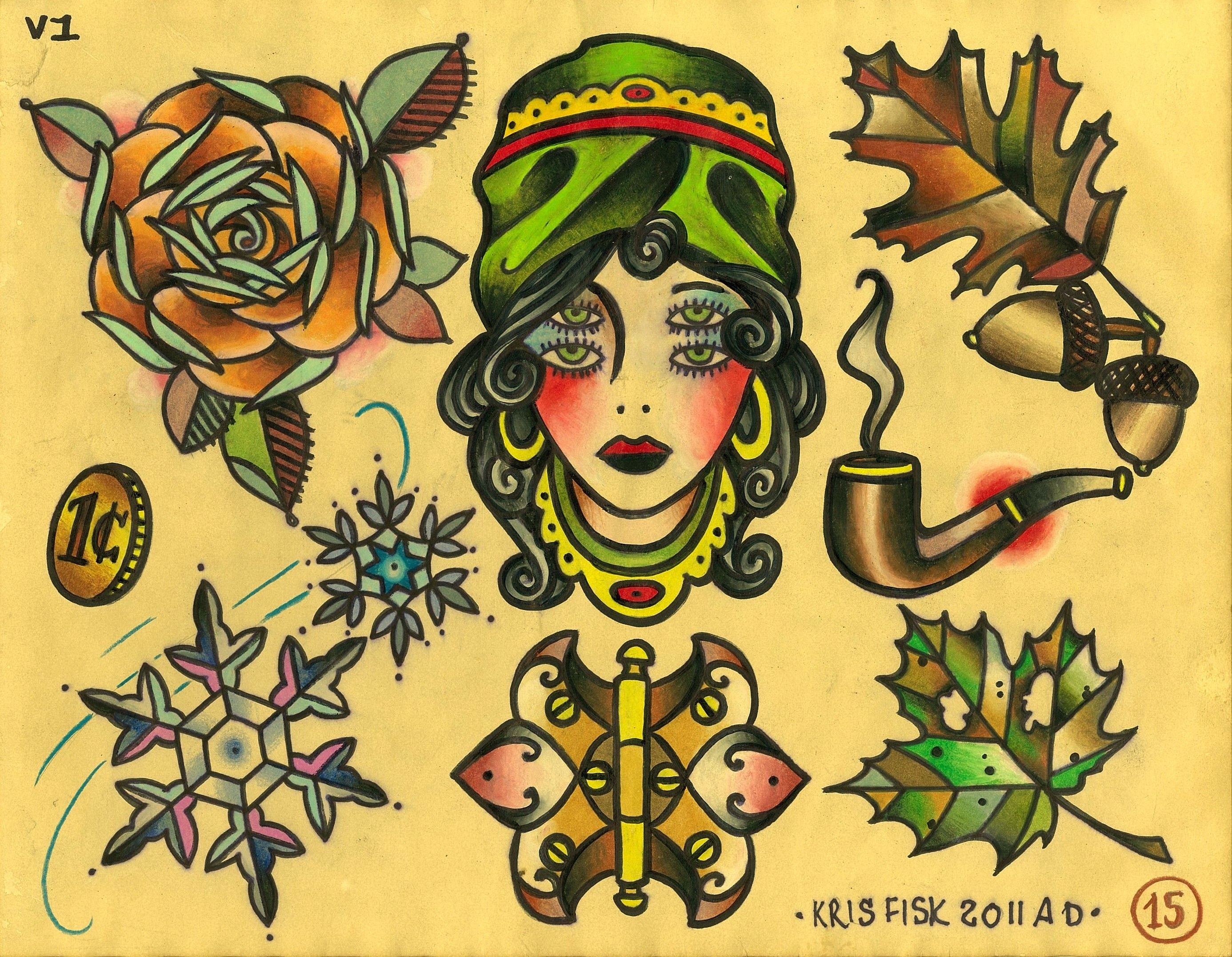 Tattoo Flash By Kris Fisk Especially Like The Multi Eyed Lady In The Middle Krisfis Traditional Tattoo Wallpaper Traditional Tattoo Flash Traditional Tattoo Traditional tattoo flash wallpaper