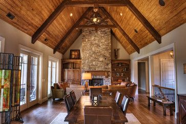 Family Room With Dining Area Included Cathedral Ceilings With Tongue And Groove Wood And Beam Vaulted Ceiling Living Room Traditional Family Rooms Great Rooms