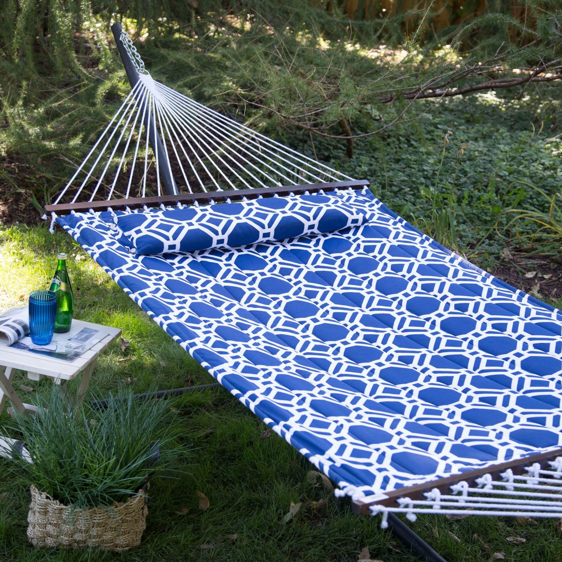 Island bay ft hampton lattice quilted hammock with steel stand