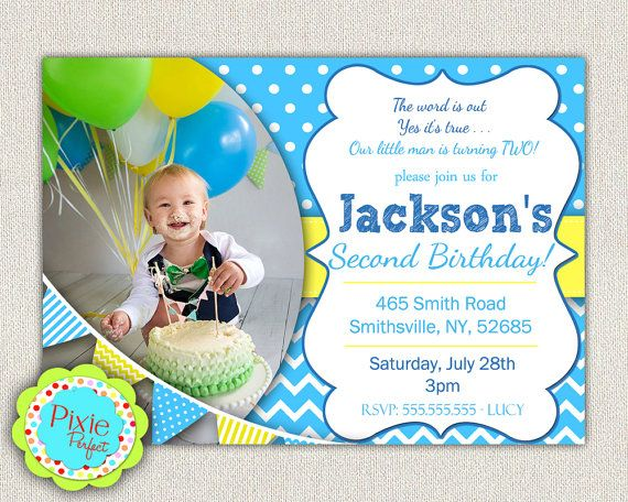 Boys 2nd Birthday Invitation / Blue and by InvitationsByLittleP