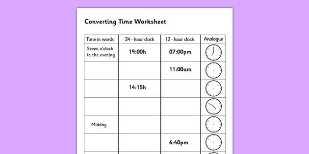 Converting Time Worksheet Converting Time Time Conversion