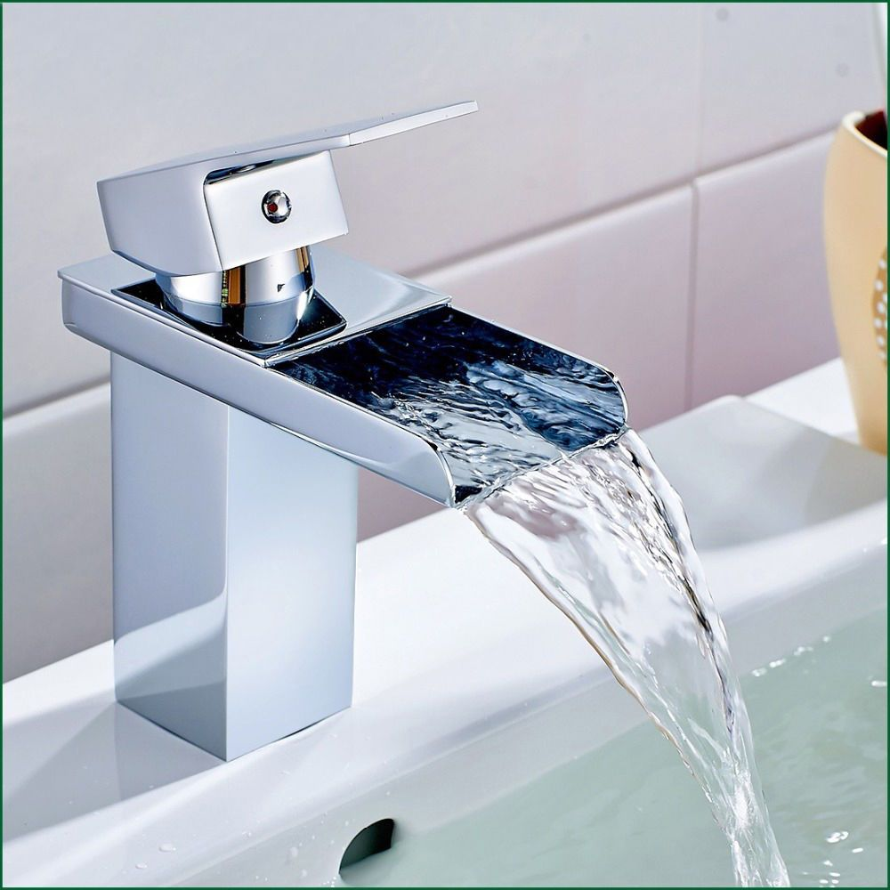 Luxury Bathroom Faucets Waterfall Chrome Polish Basin Taps Hot And