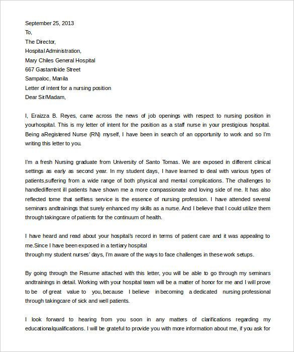 Letter Of Intent To Hire Letter Of Intent Letter Templates Free