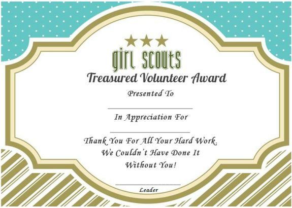 Thank You Certificate Girl Scouts  Thank You Certificates