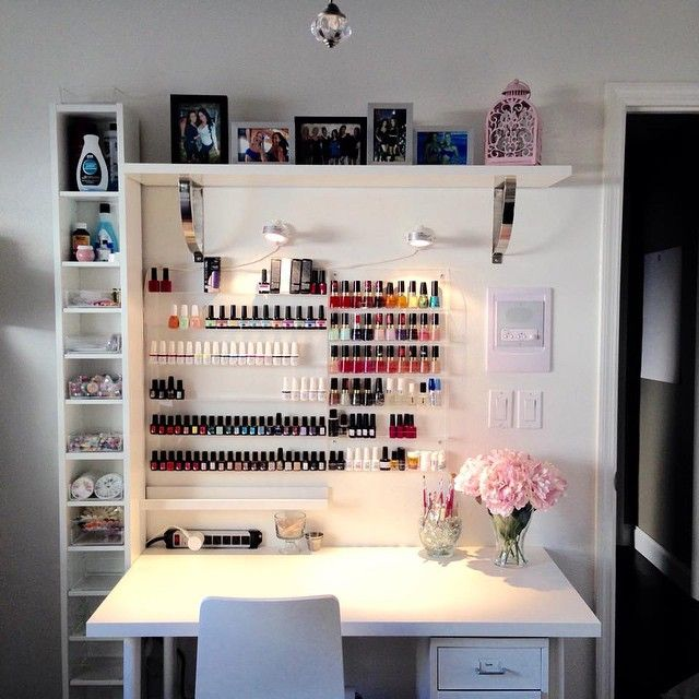 Sensationail On Instagram Gelfanatic Stephdollstatus Is Prepping Her Vanity Area For Brand New Sensatio Nail Salon Decor Home Nail Salon Nail Salon Design