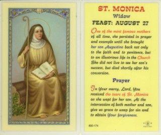 Saint monica | St. Monica - Biography Holy Card - Devotional Prayer