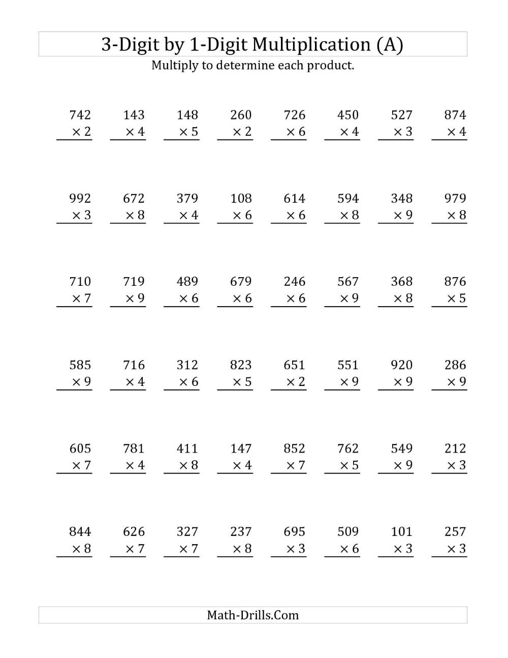 2Digit by 1 Digit Multiplication Worksheets in 2020