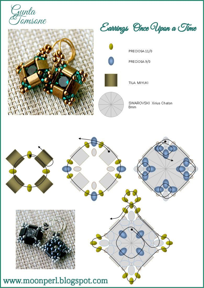 """FREE Pattern for """"Once Upon A Time"""" Earrings from MoonPerl."""