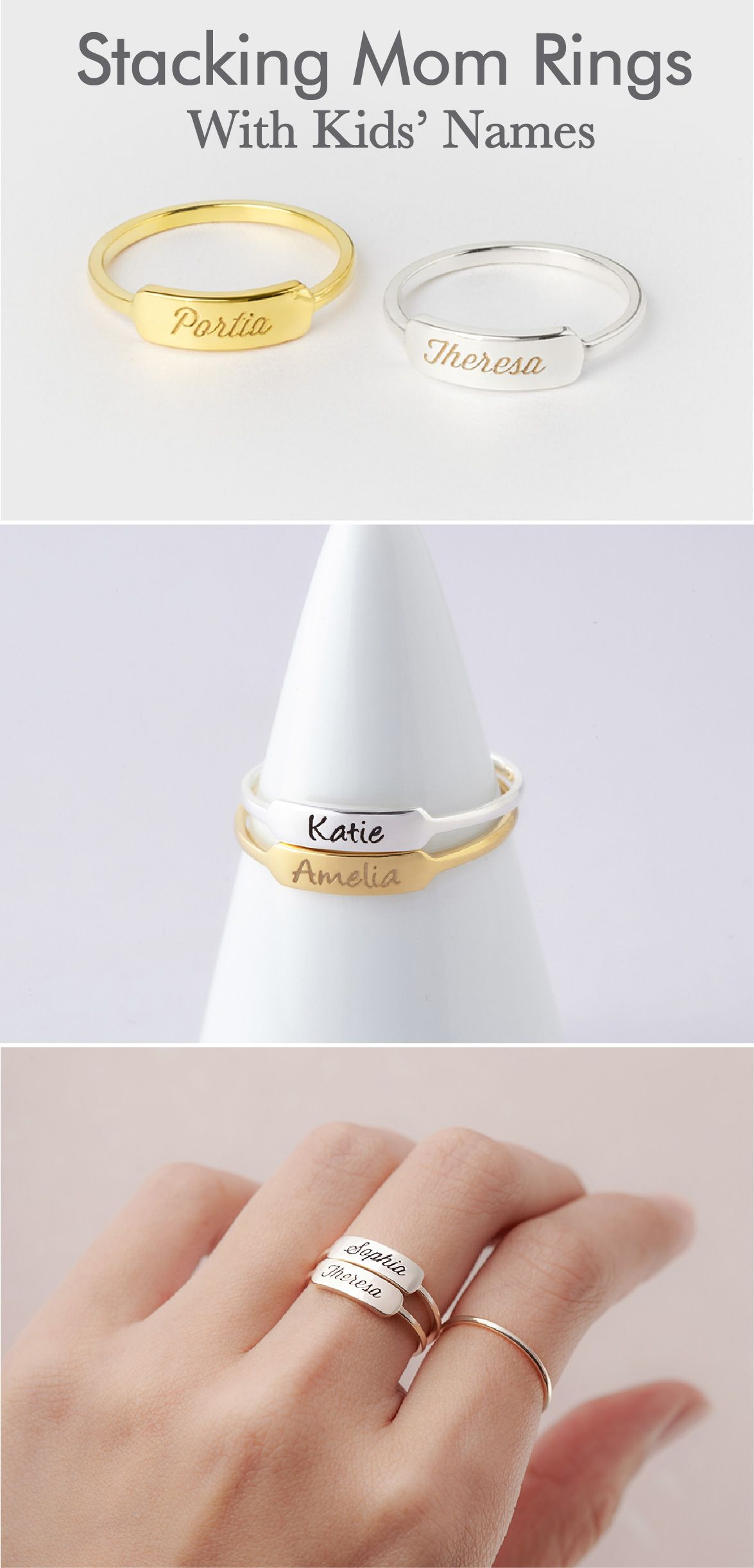 8ad844d006c80 Children's Names Ring • Mom And Baby Ring • Personalized Mom Ring ...