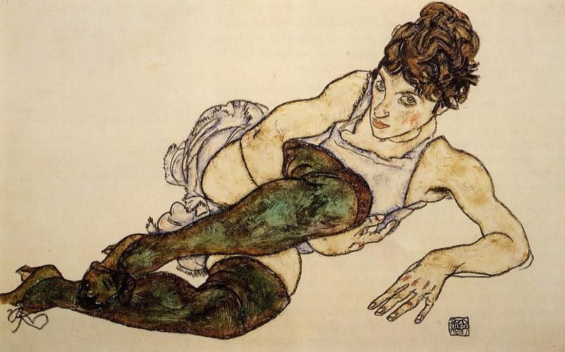 Reclining Woman With Green Stockings Adele Harms By Egon Schiele