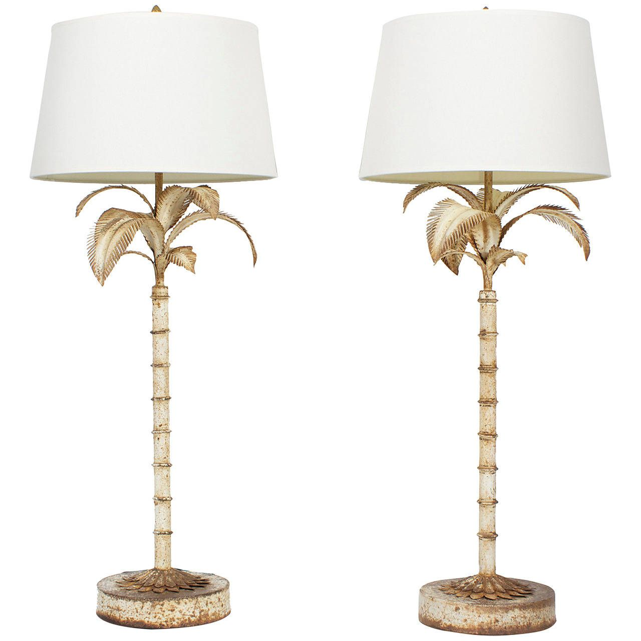 Pair Of Naturally Oxidized Tall Tole Palm Tree Lamps 1stdibs Com