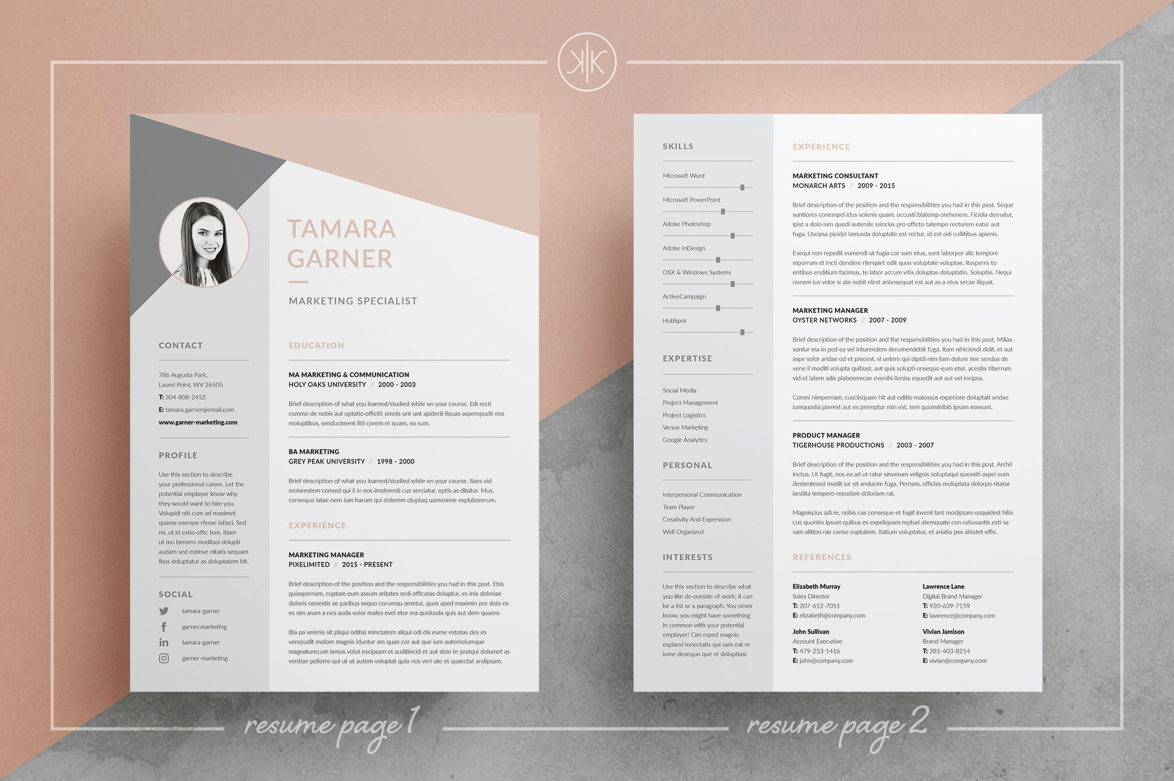 resume cv tamara design cover letter template and on my own resume cv cover letter easy to edit templates 3 page resume