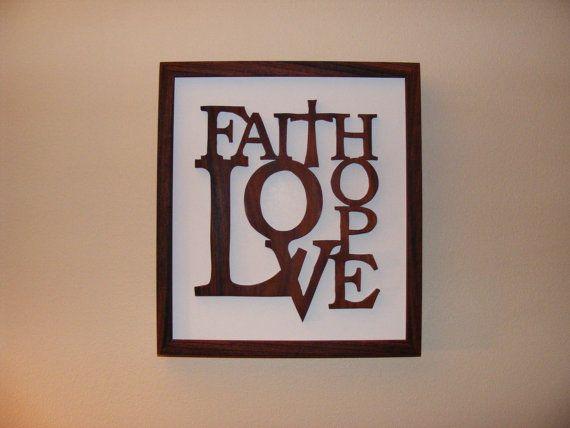Faith Wall Decor faith, hope, love, home decor, rosewood wall art | faith, walls