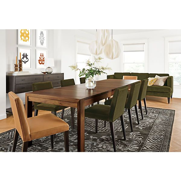 Walsh Extension Table In Walnut With Ava Chairs   Modern Dining Room  Furniture   Room U0026 Board