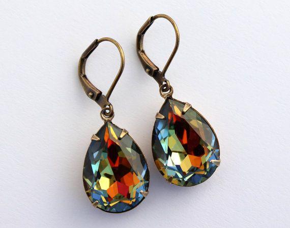 Swarovski Crystal Earrings Volcano Swarovski Crystals   Etsy