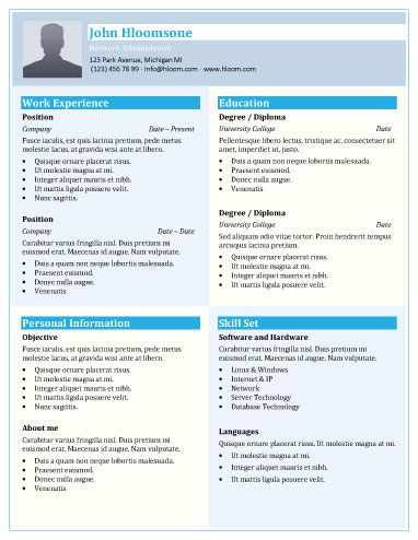 Shades Of Blue Resume Template Creative Resume Templates Resume Template Good Resume Examples