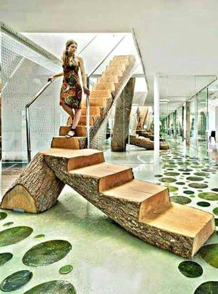 Escalera de tronco dise os con troncos muebles for Escalera interior de troncos