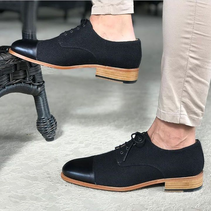 Men Black Rounded Cap Toe Suede Derby Lace Up Genuine Leather Shoes