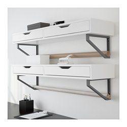 IKEA - EKBY ALEX / EKBY LERBERG, Hylde med skuffe, hvid/grå,