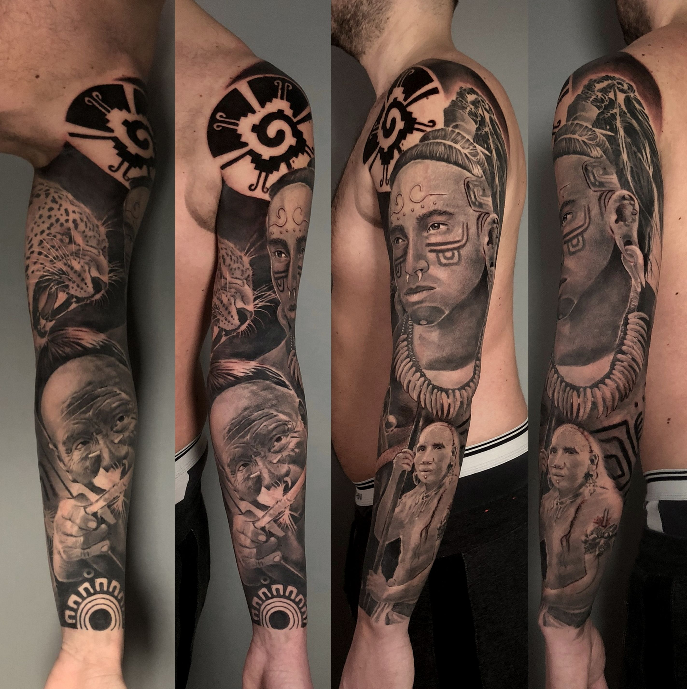 Aztec Mayan Full Sleeve In 2020 Black And Grey Tattoos Sleeve Tattoos Full Sleeve