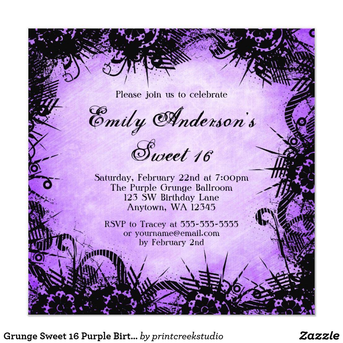 Grunge Sweet 16 Purple Birthday Party Invitations A cool black ...