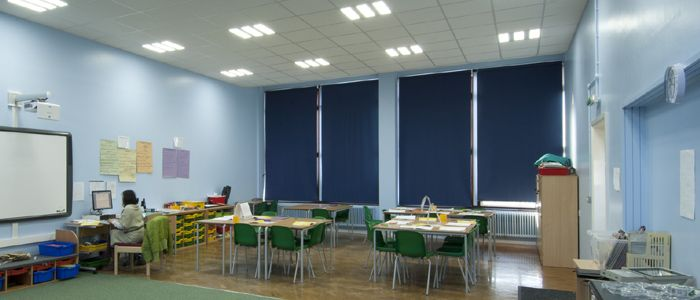School Classroom Led Lighting Ceiling Panels Using 3 Independently Controlled Light Panels From Exled Light Panels Led Lights Ceiling Lights