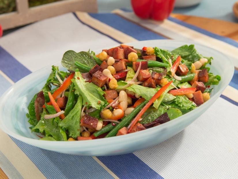 Fresh Bean Salad With Roasted Chickpeas Crispy Mortadella Bites And Mustard Vinaigrette Recipe Bean Salad Food Network Recipes Delicious Salads