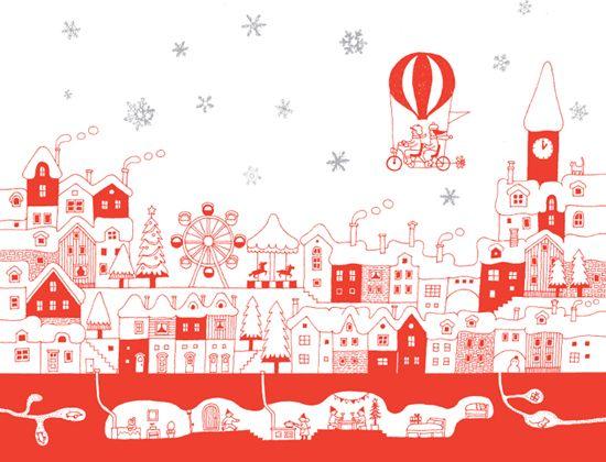 イラスト 街並み クリスマスの画像検索結果 домики 北欧イラスト