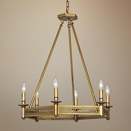 Tucker 26 3 4W Antique Brass Octagonal Chandelier