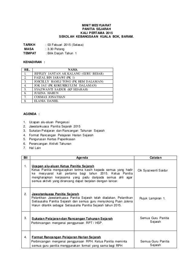 Minit Mesyuarat Panitia Sejarah Kali Pertama 2015 Sekolah Kebangsaan Kuala Bok Baram Tarikh 03 Febuari 2015 Selasa M Download Resume Resume Bambam