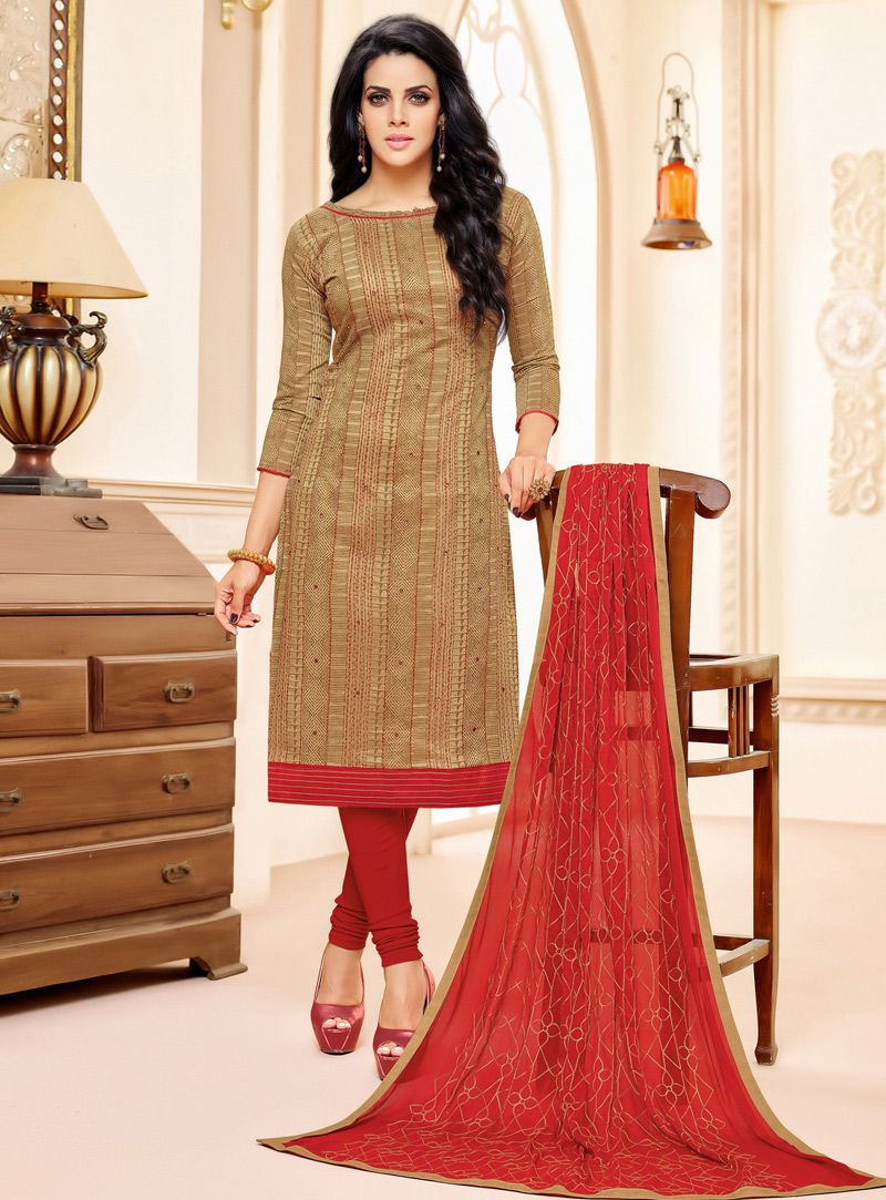 Brown chanderi churidar salwar suit churidar salwar suit