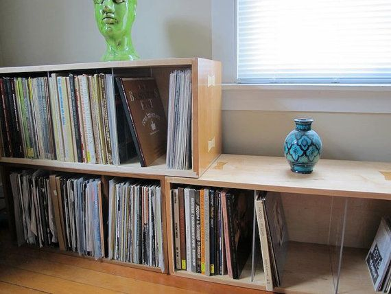 Custom Record Vinyl Storage Storage Cabinet Bin Bookcase Etsy Bookcase Furniture Design Inspiration Living Room Storage
