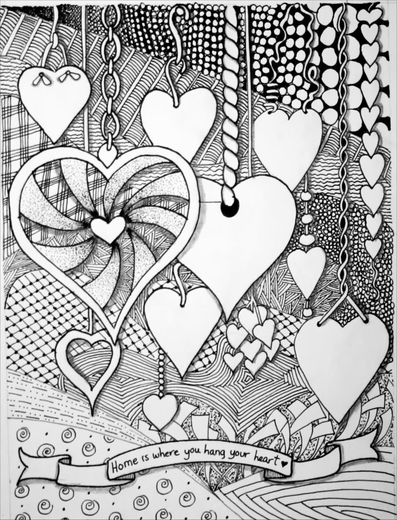 zen hearts intricate coloring page zentangle expressions zentangle home is where you hang 7366