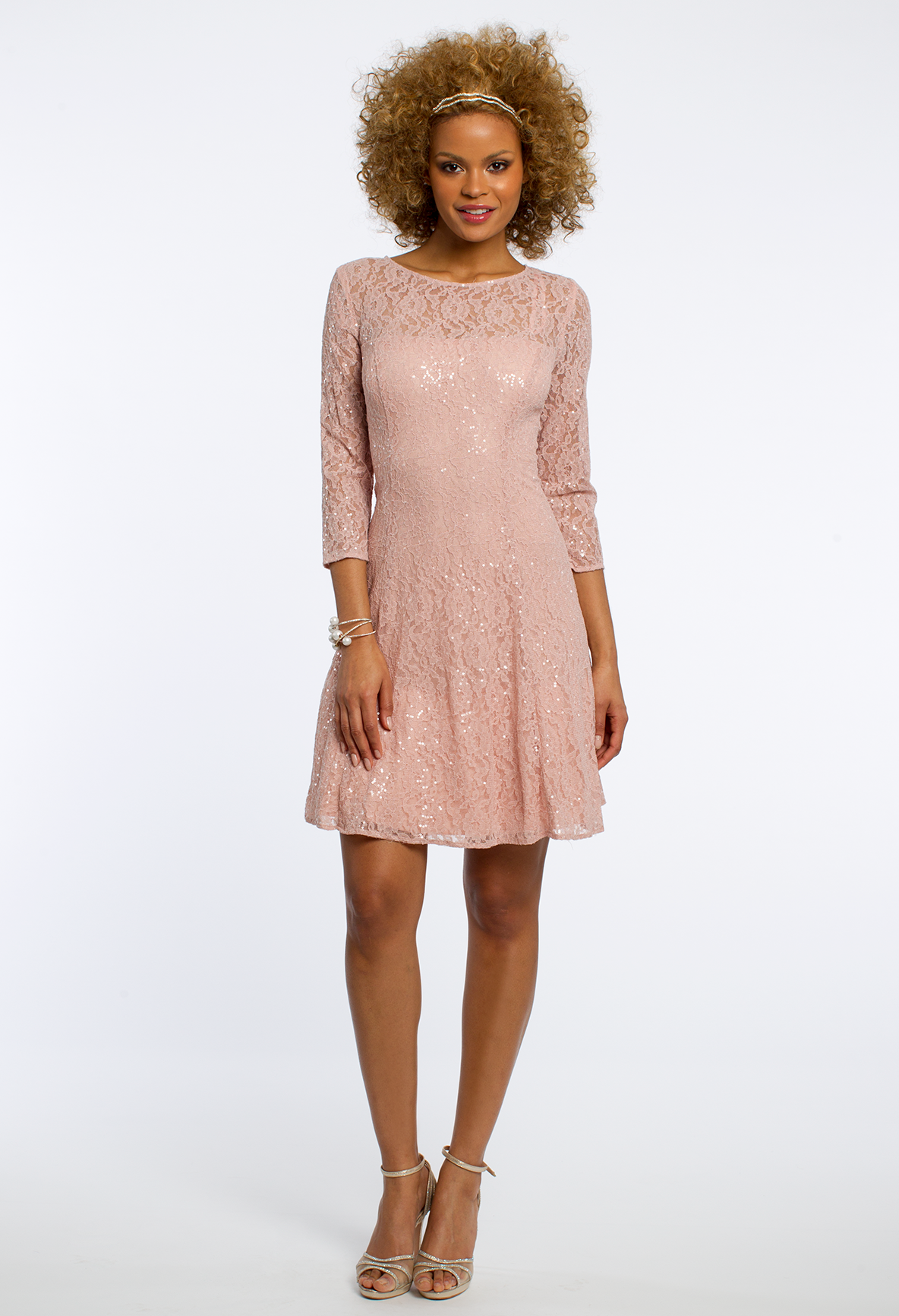 Dusty rose lace dress with sleeves camillelavie chic shorties