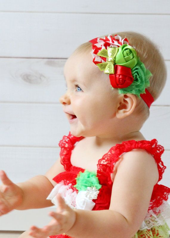 Christmas Headband For Baby Girl.Christmas Headband Shabby Chic Red And Lime Green Flower