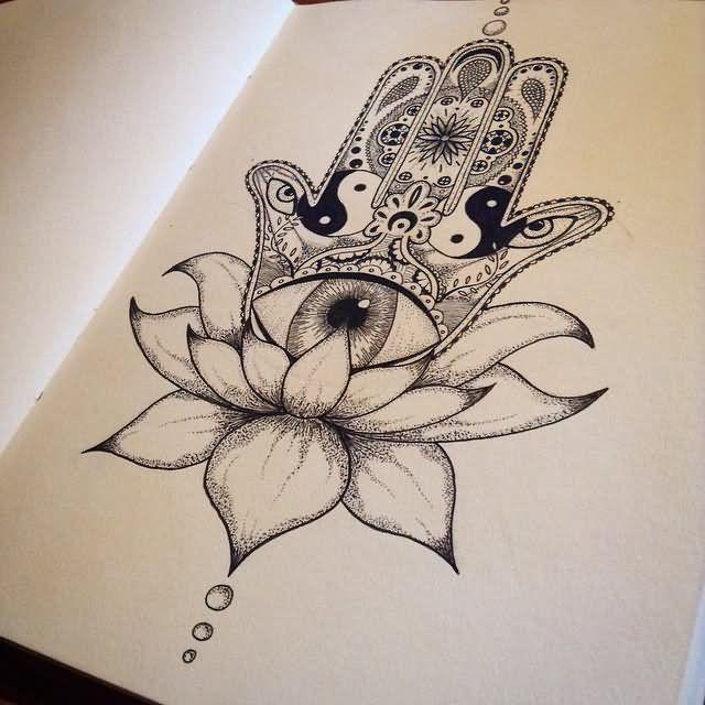 Dotwork Lotus Flower With Hamsa Tattoo Design Tatts Hamsa Tattoo