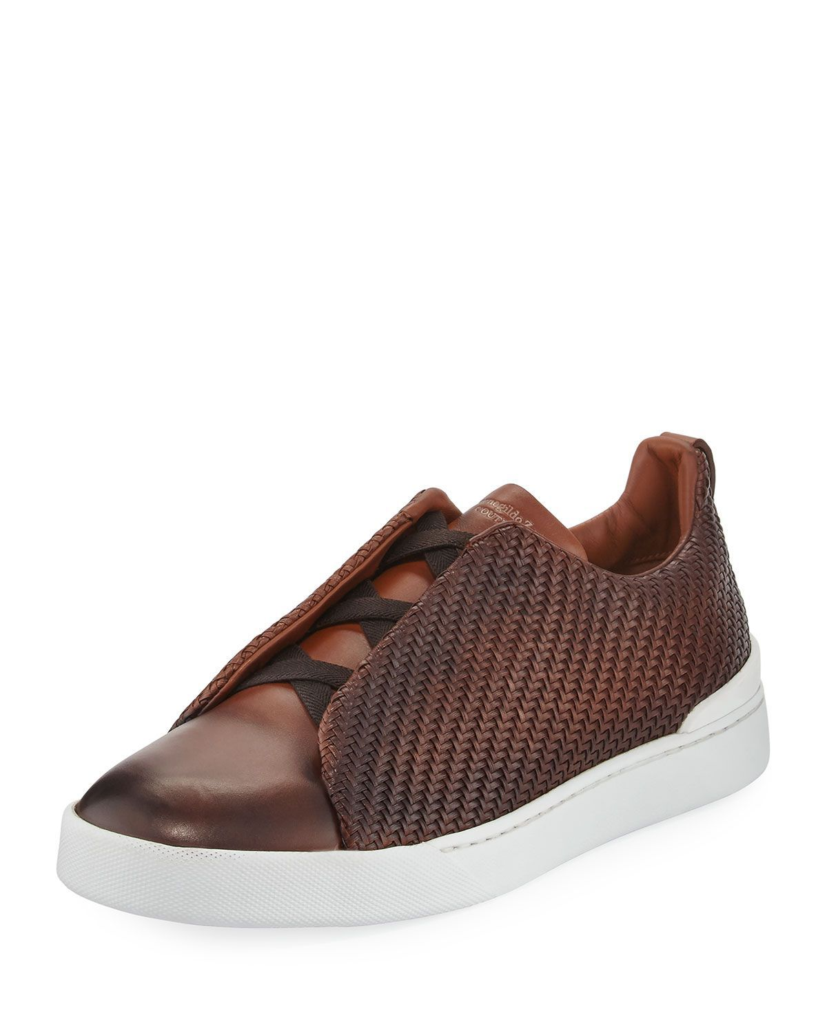 0584e561 Men's Couture Triple-Stitch Pelle Tessuta Leather Low-Top Sneakers ...